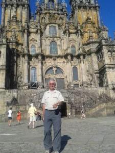 Devant la cathédrale à Santiago