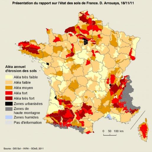 état des sols:carte de France