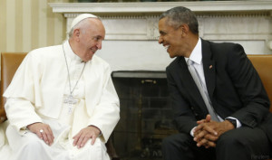 U.S. President Obama meets with Pope Francis in the Oval Office of  the White House in Washington